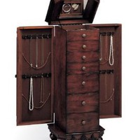 Amazon.com: Beautiful Deep Brown Finish Deluxe Jewelry Armoire: Home & Kitchen