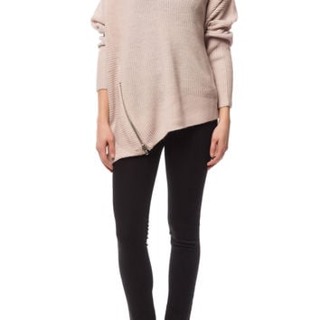 V-Neck Sweater With Side Zip