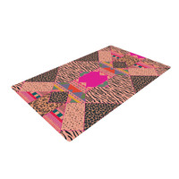 """Vasare Nar """"New Wave Zebra"""" Pattern Pink Woven Area Rug"""