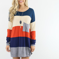 On The Horizon Rust Stripe Pocket Long Sleeve Sweater