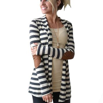2017 Autumn Striped Printed Cardigan Women Long Sleeve Open Stitch Knitted Sweater Poncho Casual Outerwear Jacket Coat