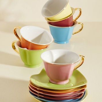 Dream and Sugar Tea Set in Rainbow - Gold Trim