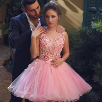 Said Mhamad Short Cocktail Dresses 2016 Sexy Backless Mini Prom Gowns Pink Tulle Flowers Beads  A Line Homecoming Party Dress