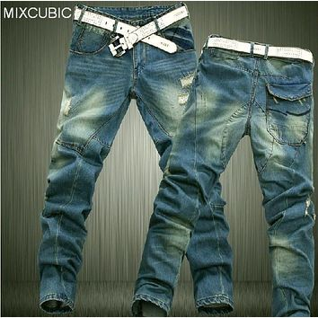 MIXCUBIC brand Dimensional cut Cat whisker denim washed ripped jeans men loose blue casual Tapered jeans for men,plus size 28-42