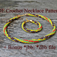 Snake in color - PDF Crochet Necklace and Bracelet Pattern + Bonus *jbb; *dbb file