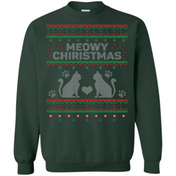 Meowy Christmas Cat Ugly Christmas Sweater Design Pullover Sweatshirt