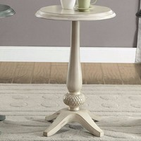 Round Accent Table, Antique White By Furniture Of America