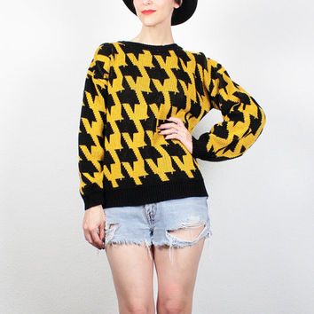 Vintage 1980s Sweater Yellow Black New Wave Jumper Cosby Sweater Houndstooth Print Knit Pullover 80s Sweater Mod Jumper M Medium L Large