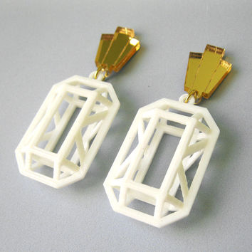 3D Emerald Statement Earrings - White Faceted Modern Post 3D Printed Jewels Stones Geometric