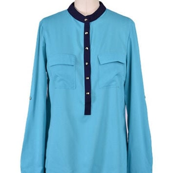 Flying Colors Blouse - Turquoise + Navy