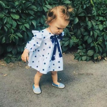2016 Autumn Long Sleeve Baby Party Dress Big Bow Tie Newborn Baby Girls Dress Baby Girl Cothes Star Printed Toddler Kid Dresses