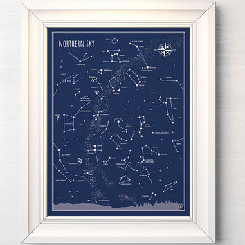 Northern Sky - print, Little Astronomer Set, back to school, map of sky, constellations