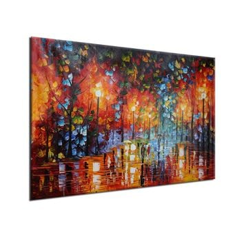 Unframed Large 100% Hand-paint Oil Painting Modern Abstract Rainy Street Canvas Wall Art