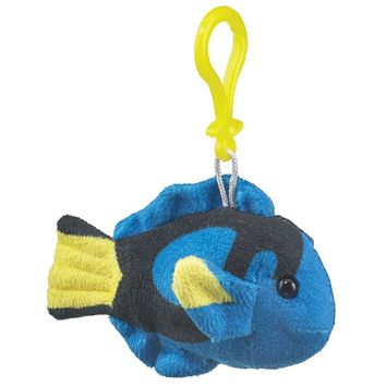 4 Inch Blue Tang Fish Stuffed Animal Clips for Kids Backpack Toy