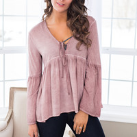 Send Me Roses Bell Sleeve Mineral Washed Babydoll Top (Dusty Rose)