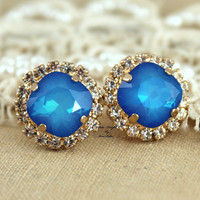 Blue Aqua Sapphire Rhinestone Studs Swarovski earring - 14k 1 micron Thick plated gold post earrings real swarovski rhinestones.