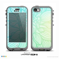 The Faded Blue & Green Subtle Floral Skin for the iPhone 5c nüüd LifeProof Case