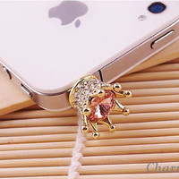 1PC Bling Crystal Crown Antidust Earphone Plug Cap for iPhone 5,4, Samsung S2,S3, Nokia Lumia 920