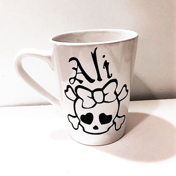 Skull and Bow Mug, Personalized Coffee Mug, Coffee Lover Gift, Get Well Gift, Gifts for Teens, Skull and Bone Cup, Valentines Day Gift