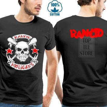 RANCID 2 Sided Rancid Hooligans Punk Rock Band Black T Shirt Tee Shirt (XS-3XL)