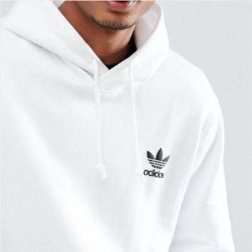 Adidas clover new men's sports and leisure hooded knit pullover sweater sides logo