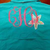 Monogrammed Fishing Shirt With Lilly Pulitzer Accent- Teal