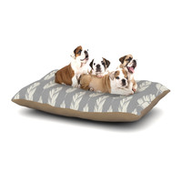 "Amanda Lane ""Feathers Gray Cream"" Grey Pattern Dog Bed"