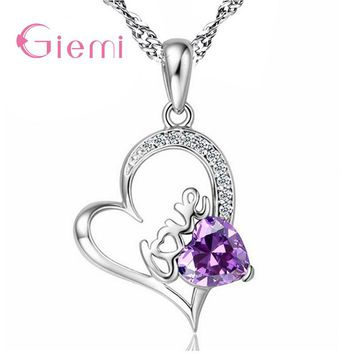 Giemi Sparkling White/Purple Clear CZ Stones Romantic Heart Lovely 925 Sterling Silver Women Bridal Wedding Pendant Necklace