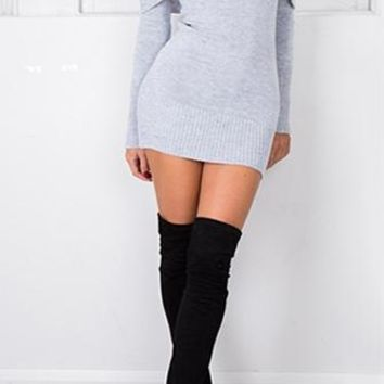 Time To Fly Heather Grey Long Sleeve Off The Shoulder Bodycon Mini Sweater Dress