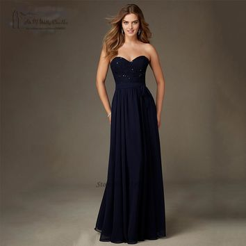 Cheap Navy Blue Bridesmaid Dresses Lace Bead Long Wedding Party Dress Gowns Chiffon Bestidos Mujer Vestido de Festa de Casamento