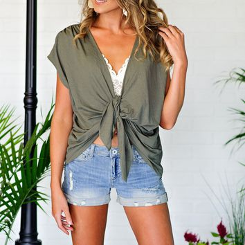 * Find Us Under The Palm Tree Tie Top : Olive