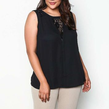 PLUS SIZE LACE PLUNGE SLEEVELESS TOP