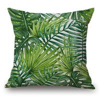 Free Shipping Custom Tropical Plant Cushion Cojin Green Leaf Pillow Home Deocrative Office Chair Back Waist Cushion