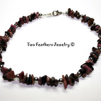 Rhodonite Anklet - Beaded Anklet - Pink Stone Anklet - Pink And Silver - Rose Pink - Rhodonite Nuggets - Gift For Her - Pink Anklet
