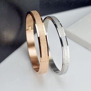 ac spbest Simple Rose Gold Fashion Punk Luxury Love Bracelets Bangles Grind Arenaceous Frosted Bracelets For Women Men Couple Cool Jewelry