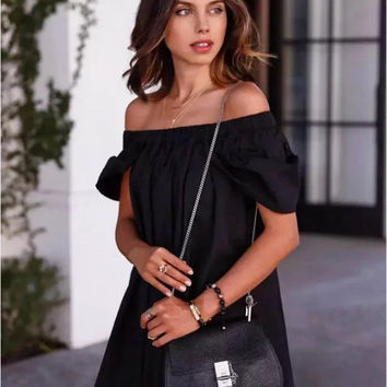 Black Off the Shoulder Shift Mini Dress