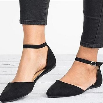 Summer Leopard Pointed Toe Buckle Suede Flats
