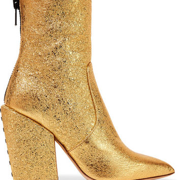 Petar Petrov - Solar metallic cracked-leather ankle boots