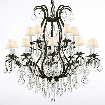 "Swarovski Crystal Trimmed Chandelier! Wrought Iron Chandelier Crystal Chandeliers Lighting H36"" X W36"" With Shades! - A83-WHITESHADES/3034/10+5 SW"