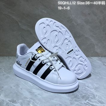 HCXX A518 Adidas Superstar Leather Casual Shoes White Black