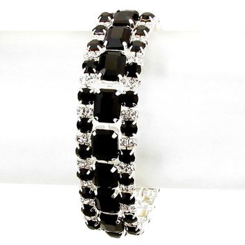 Elegant Luxury Affordable Wedding Jewelry Jet Black Clear Glass Rhinestone Silver Tennis Bracelet