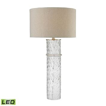 Two Tier Glass LED Table Lamp With Grey Linen Shade