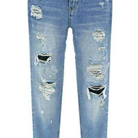 Blue Bleached Frayed Denim Pants