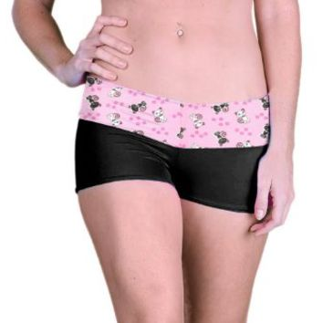 Outta Bounds Yoga Shorts Spandex Exercise Shorts Black and White Kitty
