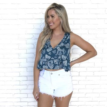 Paisley Peplum Satin Crop Top in Blue