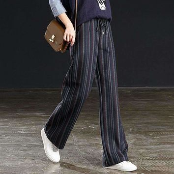 Thick Straight Pants Women Striped Mid Elastic Waist Pockets Full Length Pants Simple Design Vintage Style 2018 New Fashion