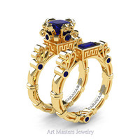 Art Masters Caravaggio 14K Yellow Gold 1.5 Ct Princess Blue Sapphire Engagement Ring Wedding Band Set R627S-14KYGBS