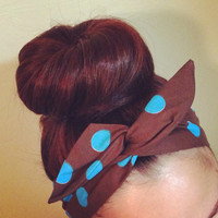 Turquoise on Brown Polka Dot Dolly Bow Headband
