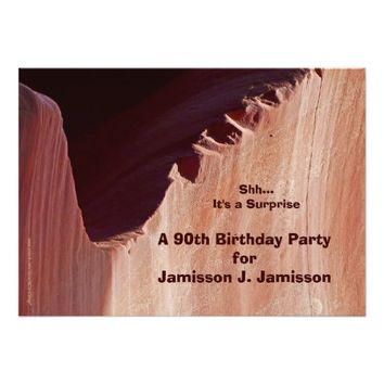 Surprise 90th Birthday Party Canyon Personalized Card