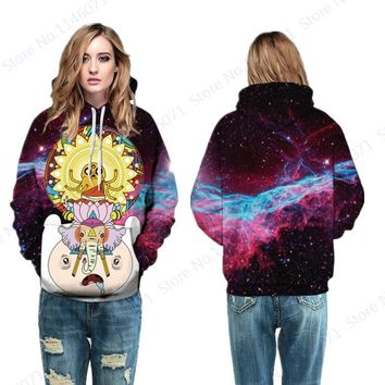 Harajuku Galaxy Adventure Time Skateboarding Hoodies Funny Finn And Jake Hooded Sweatshirt Women Autumn Winter Jumper Pullover
